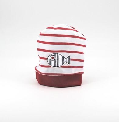 Cappellino in puro cotone bianco a righe rosse Pz. 1