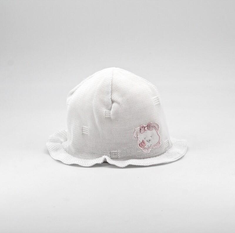 Cappellino in cotone bianco con orsetto rosa Pz. 1