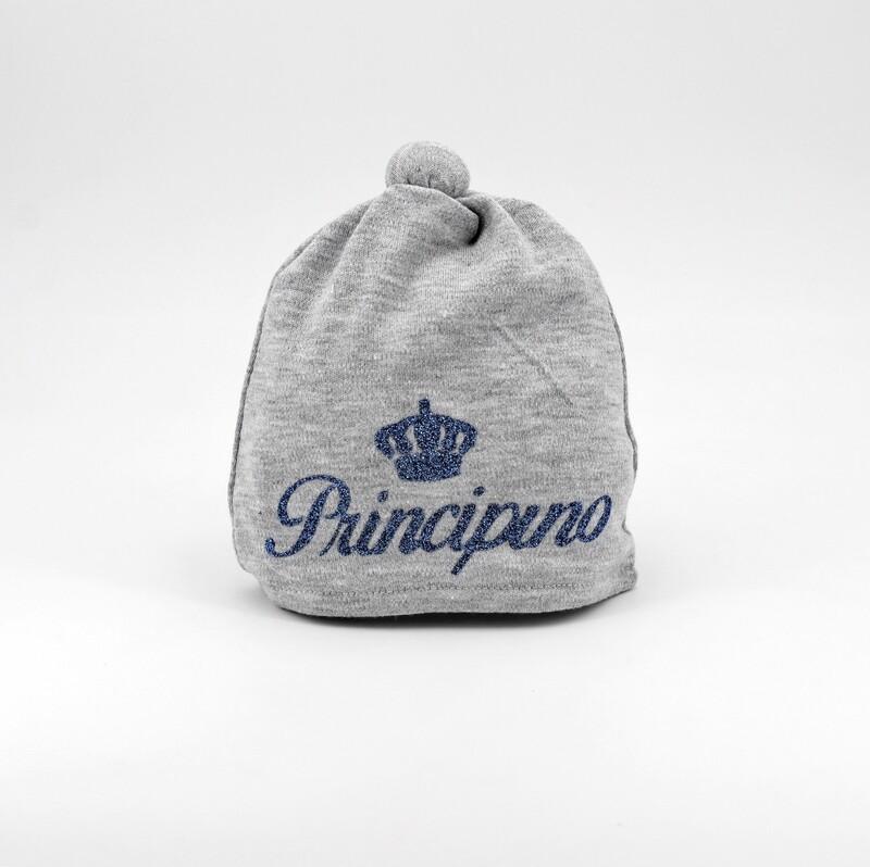 Cappellino in cotone grigio con scritta principino blu Pz. 1