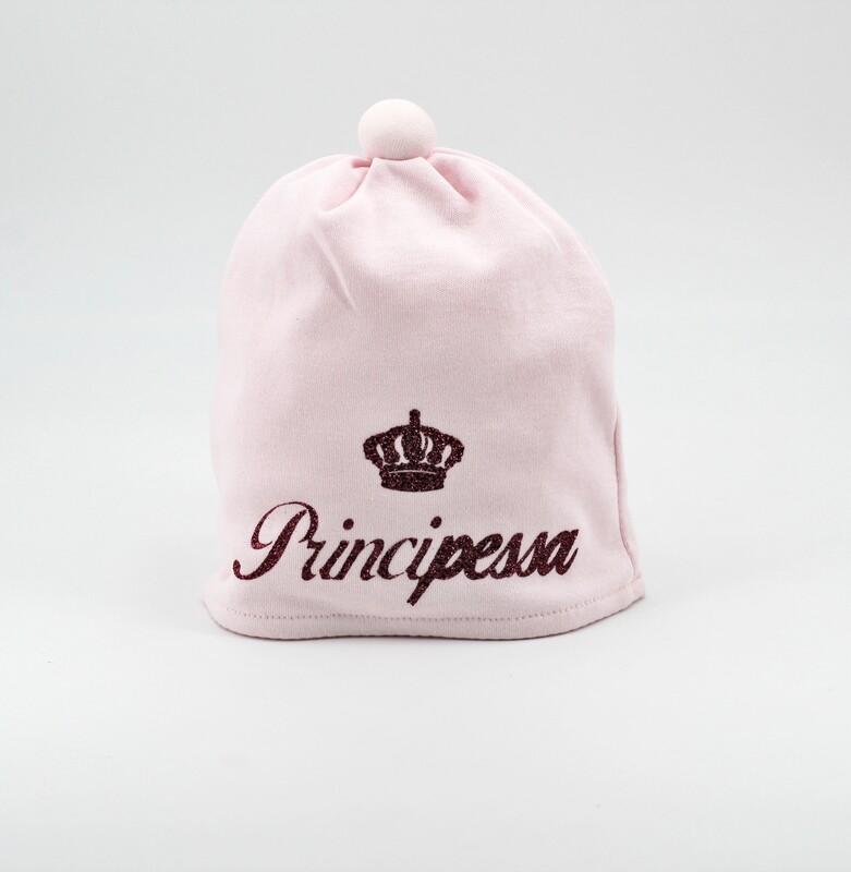 Cappellino in cotone rosa con scritta principessa rossa Pz. 1