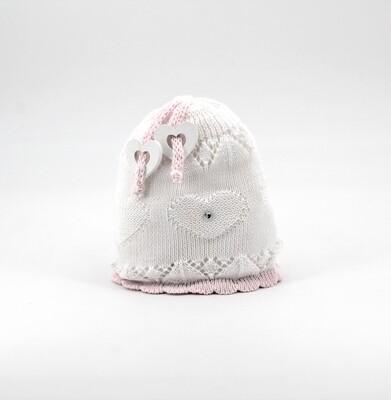 Cappellino in cotone artigianale bianco e rosa Pz. 1