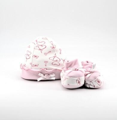 Completo in cotone cappellino e scarpine bianche e rosa Pz. 1