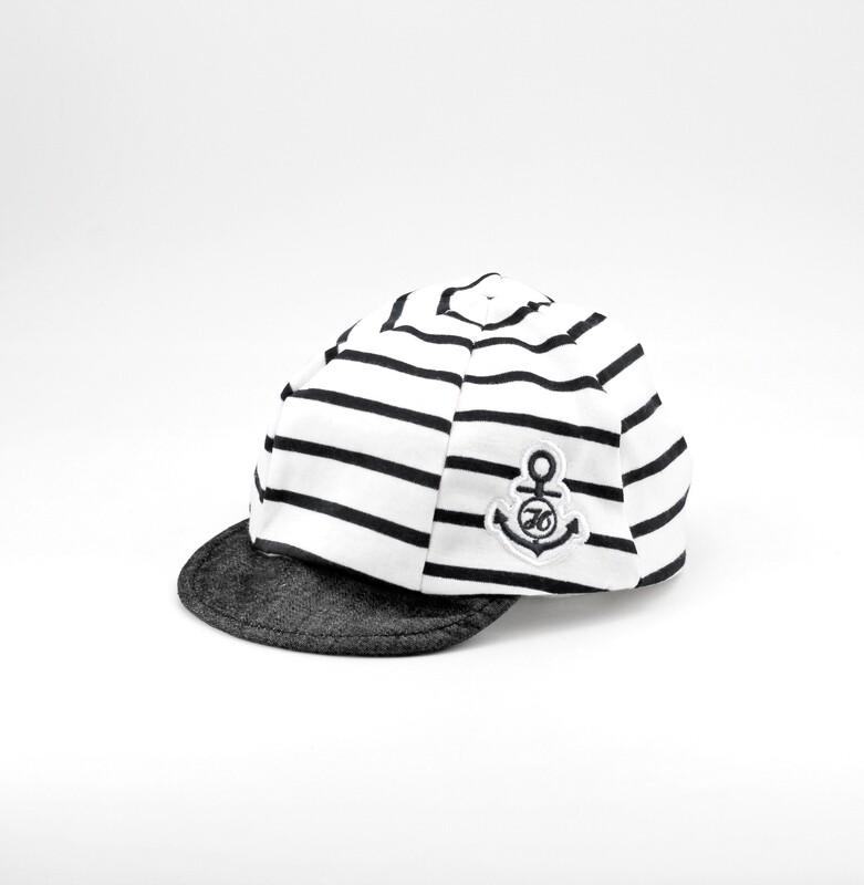 Cappellino in puro cotone bianco a righe blu Pz. 1