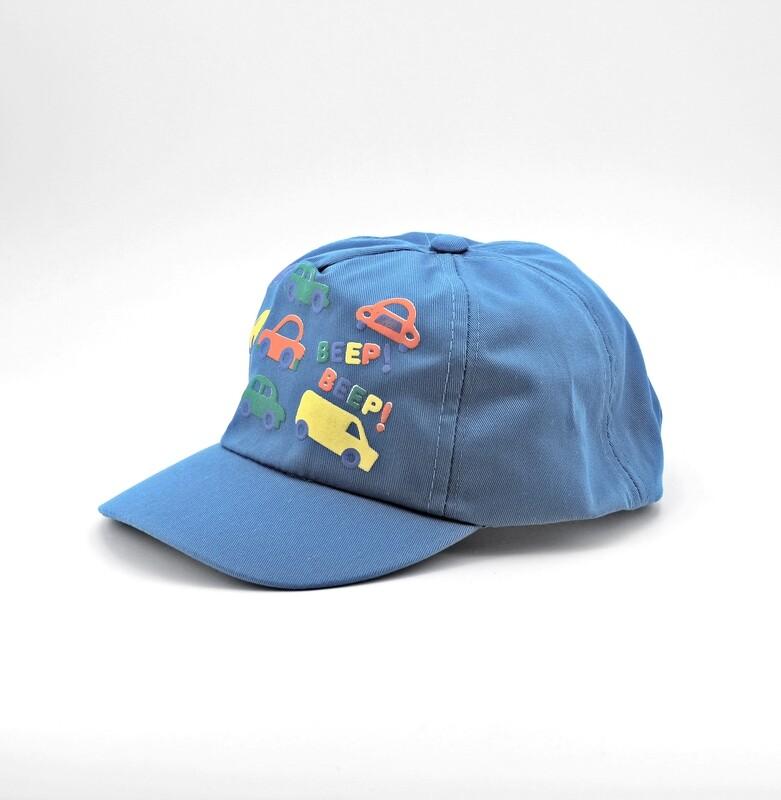 Cappellino in puro cotone azzurro fantasie macchinine Pz. 1