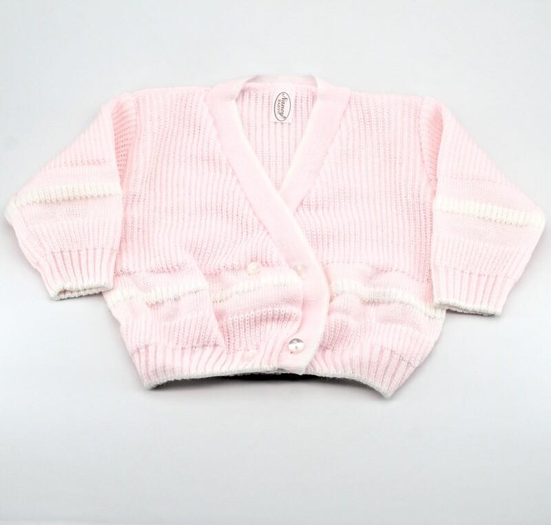 Scaldacuore neonato misto lana rosa con bordi bianchi Pz. 1