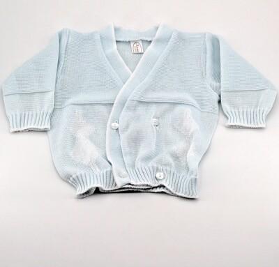 Scaldacuore neonato puro cotone celeste con rombi Pz. 1