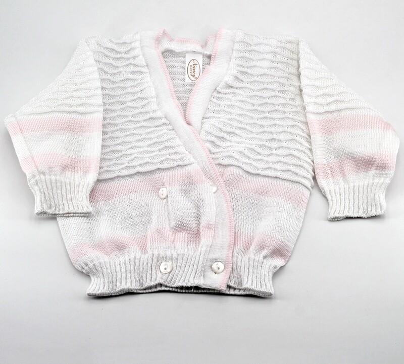 Scaldacuore neonato puro cotone bianco e rosa con fantasia ricamo Pz. 1
