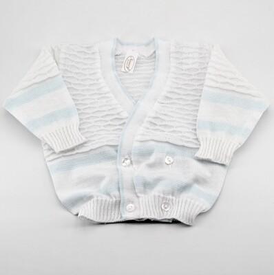 Scaldacuore neonato puro cotone bianco e celeste con fantasia ricamo Pz. 1