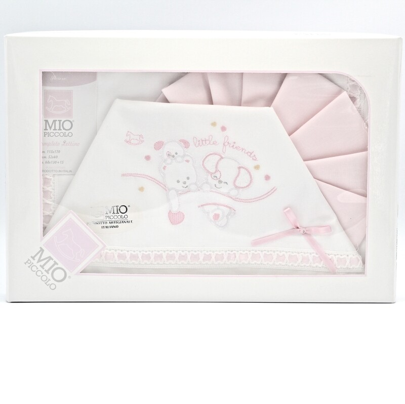 Completo lettino bianco e rosa little friends Pz.1