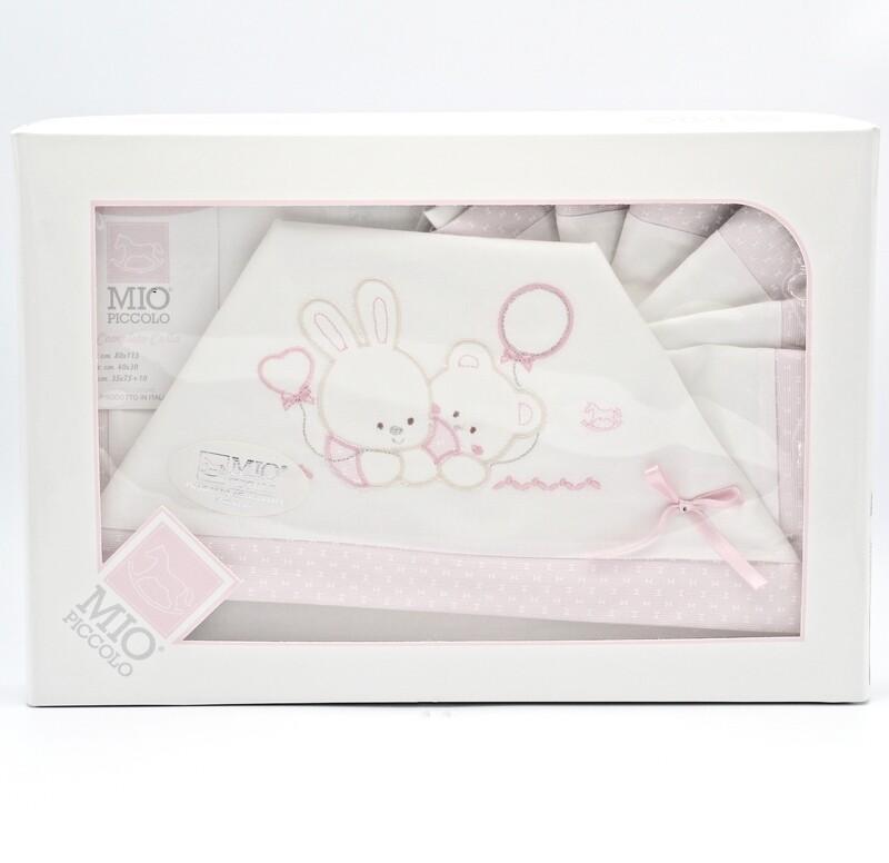 Completo culla bianco e rosa con fantasia orsetto e coniglio Pz.1