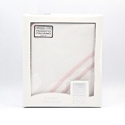 Accappatoio quadrato in spugna idrofila bianca con bordi rosa Pz.1