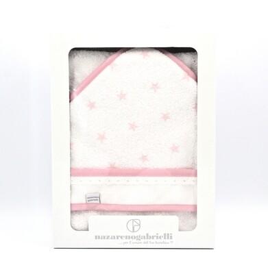 Accappatoio in spugna triangolare bianca e rosa fantasia stelle Pz.1
