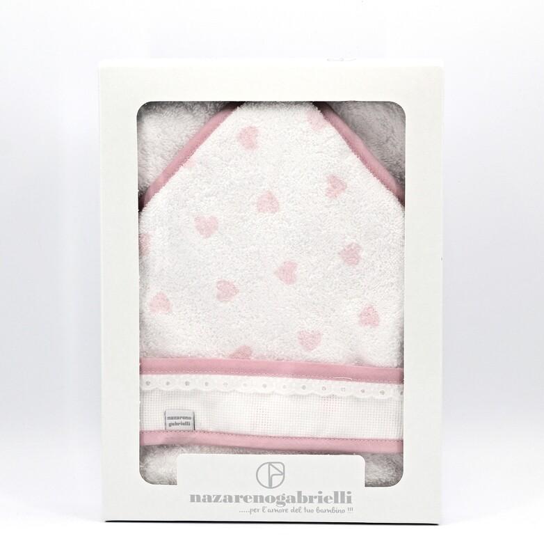 Accappatoio in spugna triangolare bianca e rosa fantasia cuori Pz.1