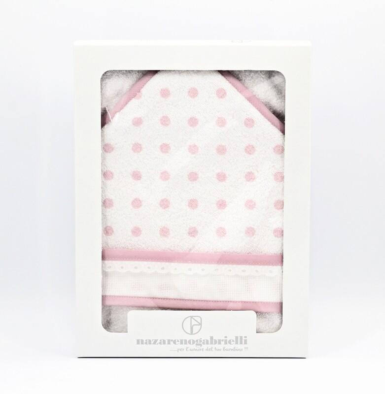 Accappatoio in spugna triangolare bianca e rosa fantasia pois Pz.1