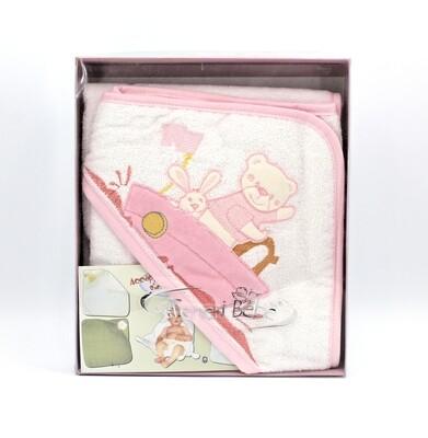 Accappatoio in spugna idrofila bianca e rosa con barchetta Pz.1