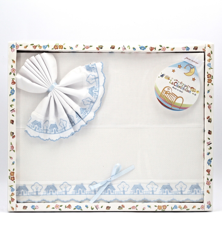 Coordinato culla in puro cotone bianco e celeste Pz.1