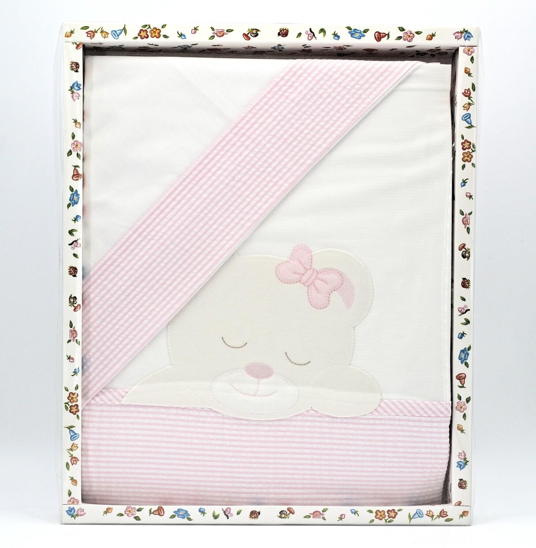 Sacco da lettino bianco e rosa per piumino Pz.1