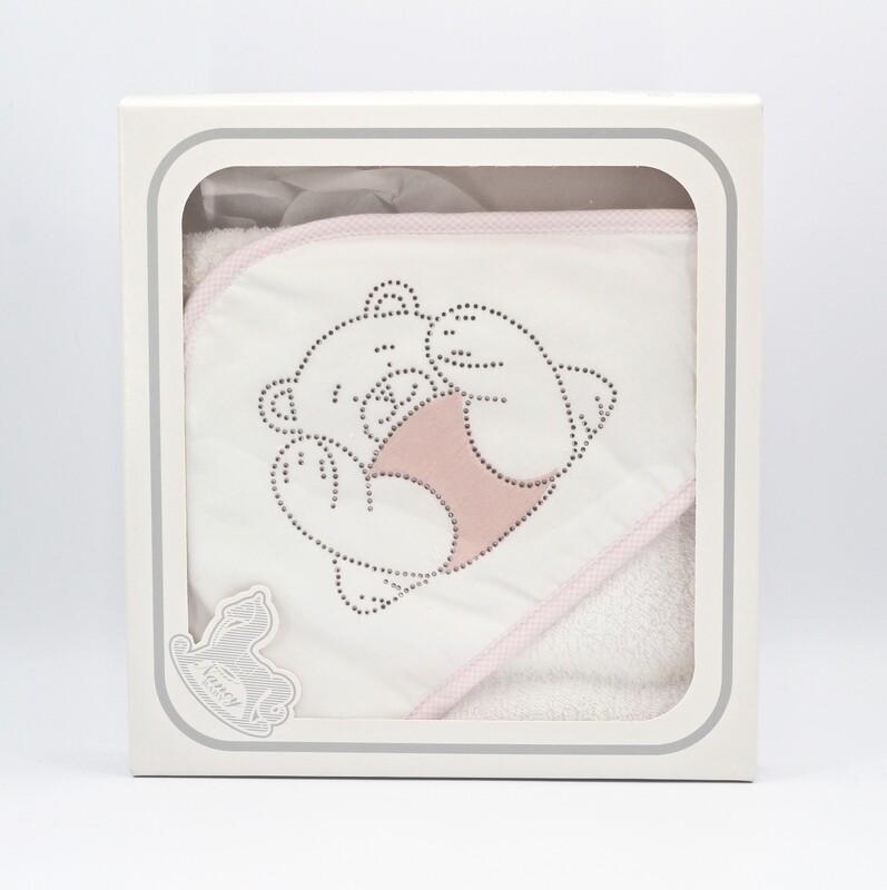 Accappatoio per neonato in spugna ecru con manopola Pz.1