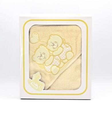 Accappatoio per neonato giallo in spugna idrofila Pz.1