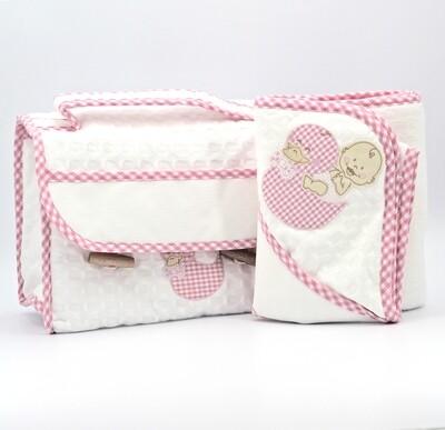 Coordinato da bagno bianco e rosa per neonato Pz.1