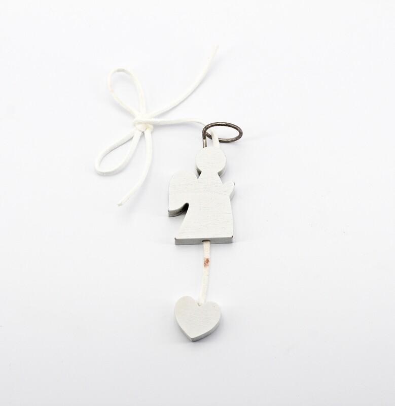 Applicazione chiudipacco in legno angelo bianco Pz. 12