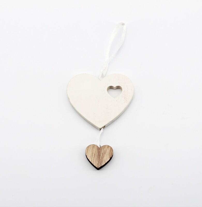 Applicazione chiudipacco in legno cuore bianco  Pz. 12