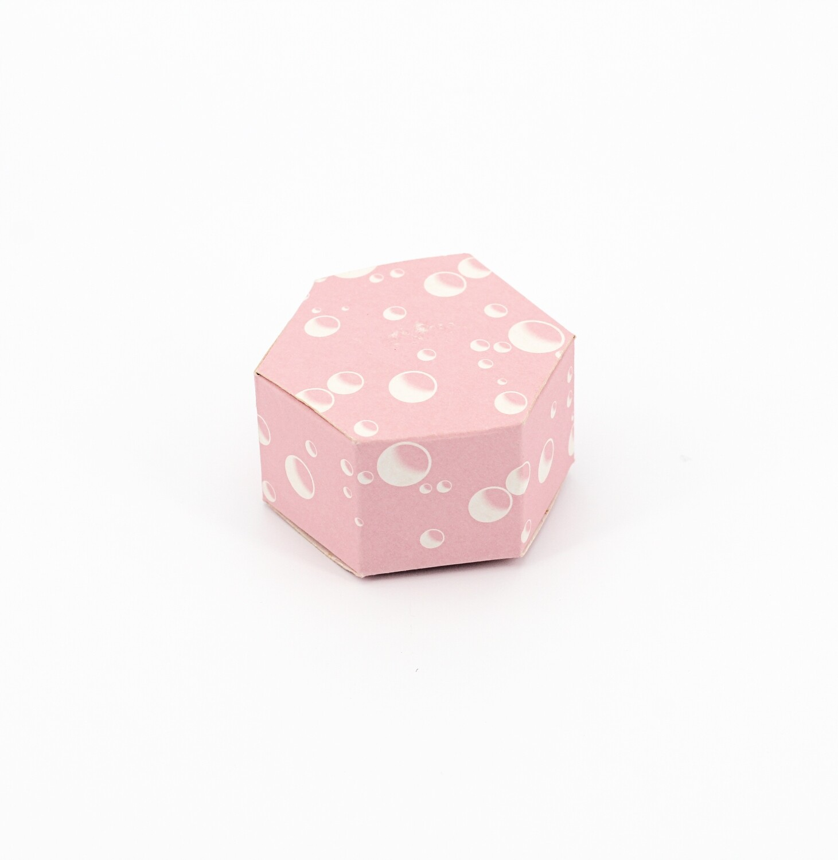 Scatola esagonale rosa fantasia bolle Pz. 12