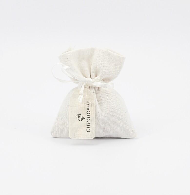 Sacchetto bianco piccolo con tirante più targhetta Pz. 12