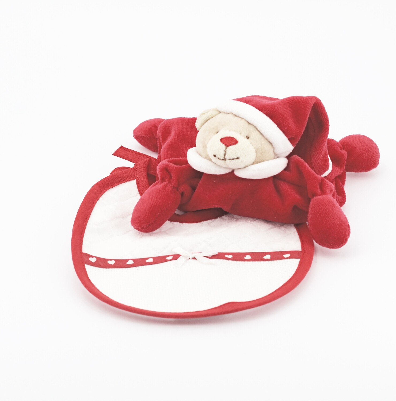 Confezione regalo natalizia peluche sonaglio più bavetta Pz. 1