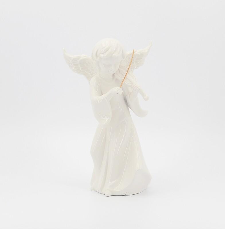 Bomboniera in ceramica angelo bianco con violino Pz.1