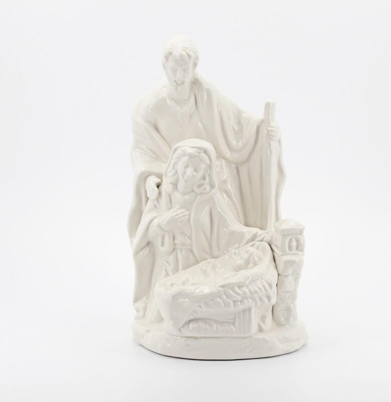 Bomboniera in ceramica natività bianca con led Pz. 1