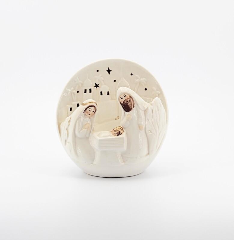 Bomboniera in ceramica natività tonda con led Pz. 1