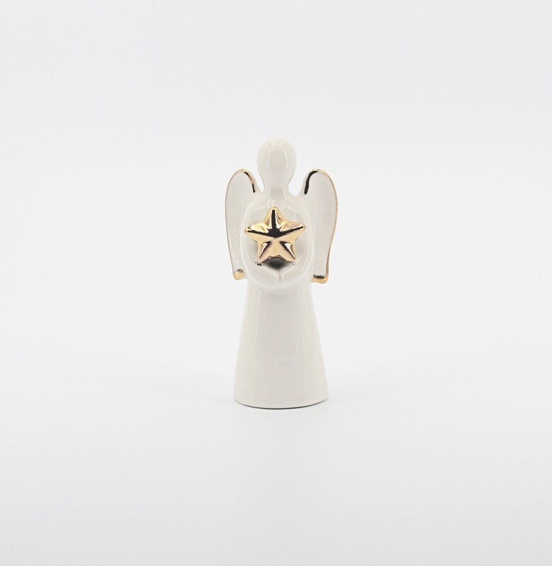 Bomboniera in ceramica angelo con stella gold Pz. 1