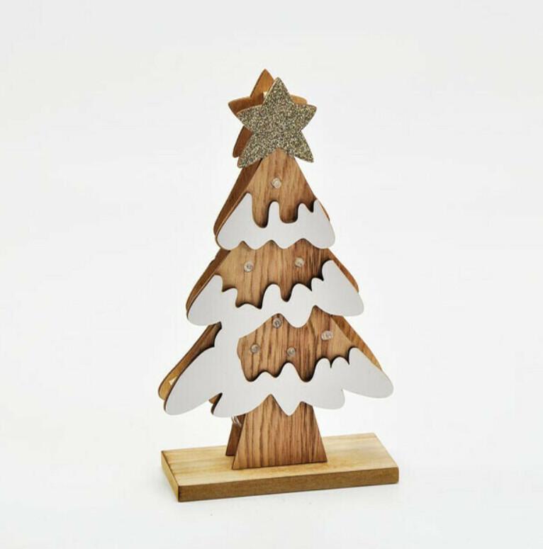 Bomboniera in legno albero di natale con led piccolo Pz. 1