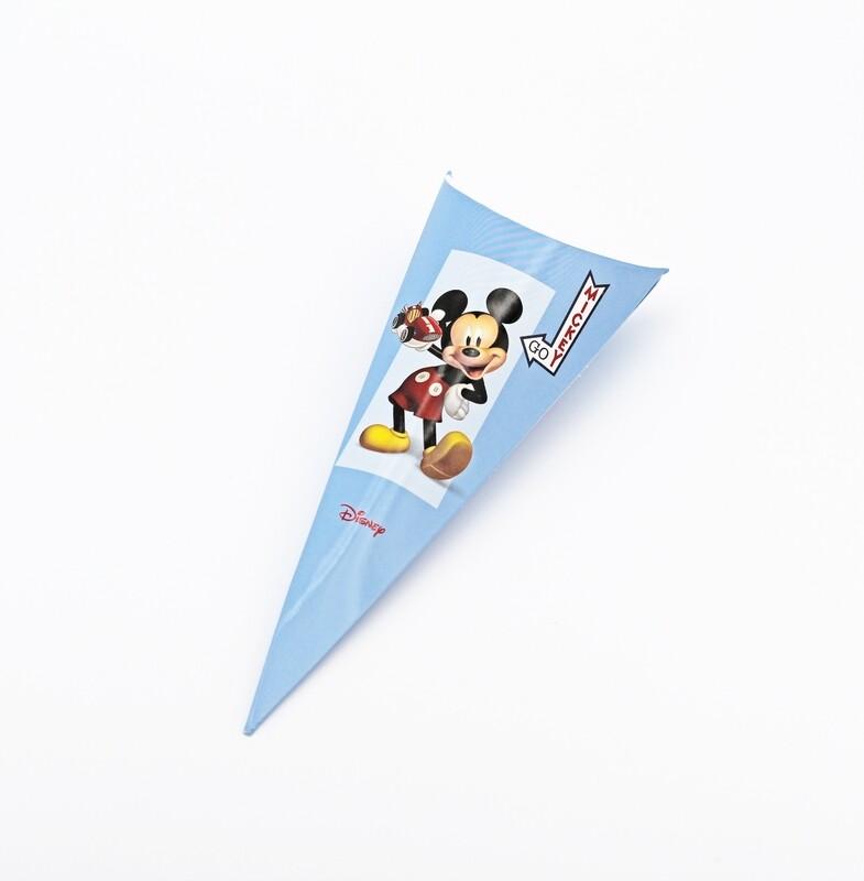 Cono mickey portaconfetti azzurro Pz.10
