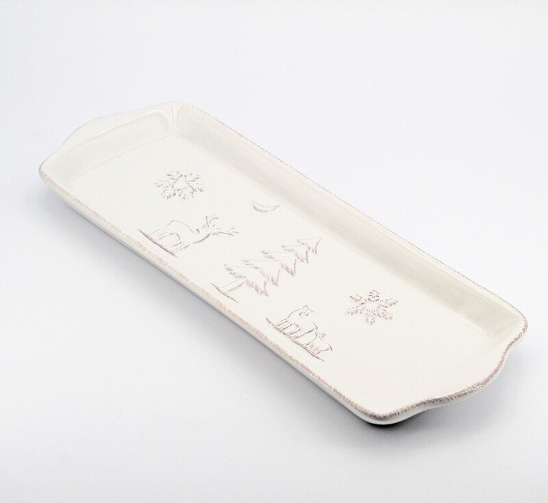Bomboniera in ceramica piatto rettangolare tema natale Pz. 1