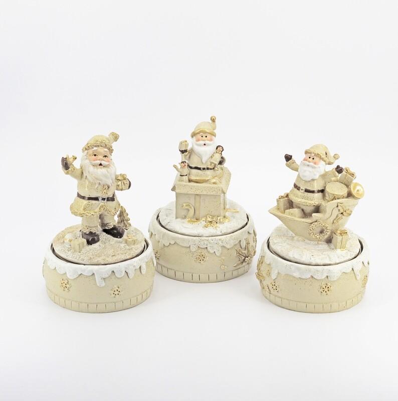 Bomboniera in resina carillon babbo natale tre soggetti Pz. 3