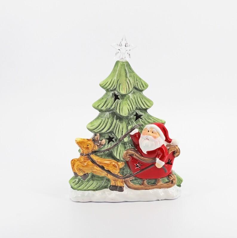 Bomboniera in ceramica albero di natale con luci Pz. 1