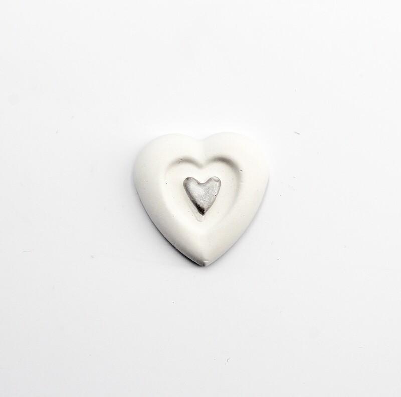 Gessetto doppio cuore argento Pz. 10