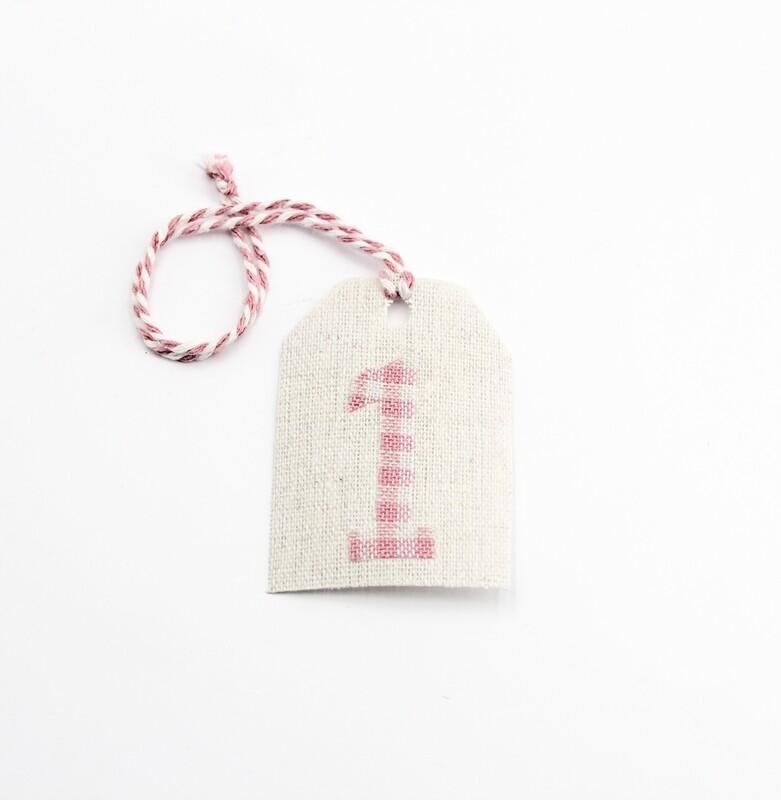 Applicazione targhetta in cotone numero uno rosa  Pz.1