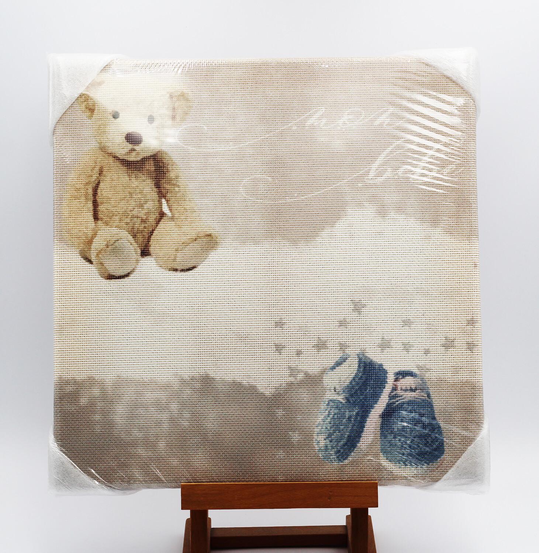"Quadro da ricamare orso ""Mon Bebè"" celeste"