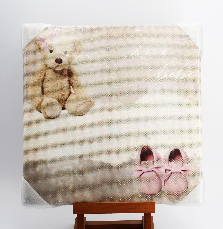 "Quadro da ricamare orso ""Mon Bebè"" rosa"