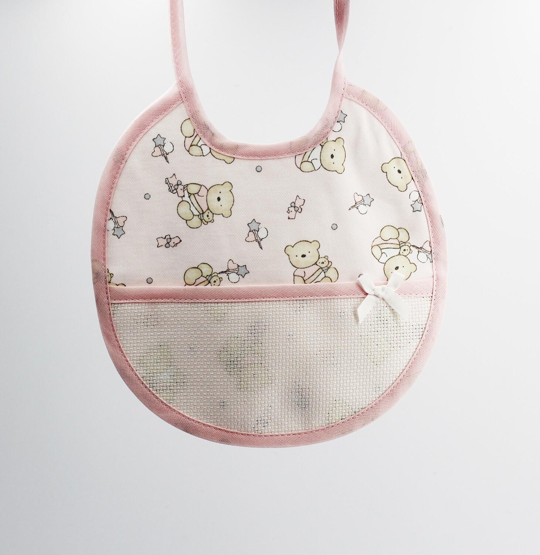 Bavaglino tondo rosa orsetti con tela Pz.3