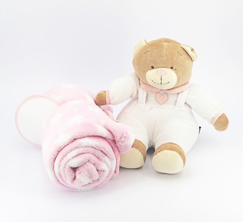 Copertina rosa da culla con orsetto più bavaglino decorativa Pz.1