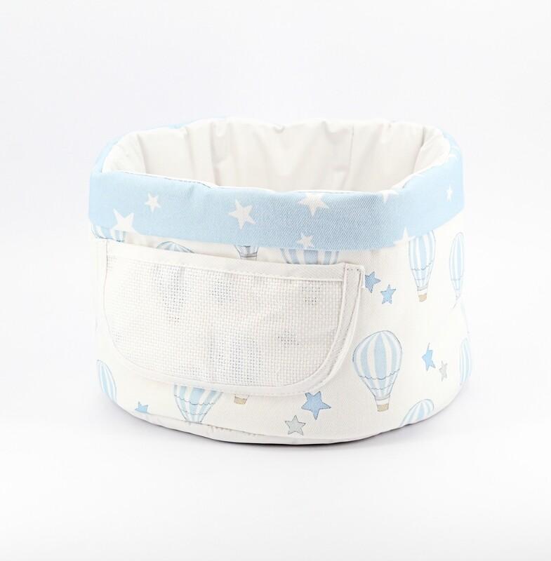 Cestino bebè porta oggetti bianco fantasia celeste Pz. 1