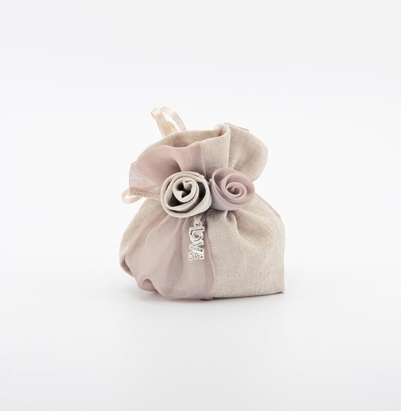 Sacchetto tortora con rosa love Pz. 24