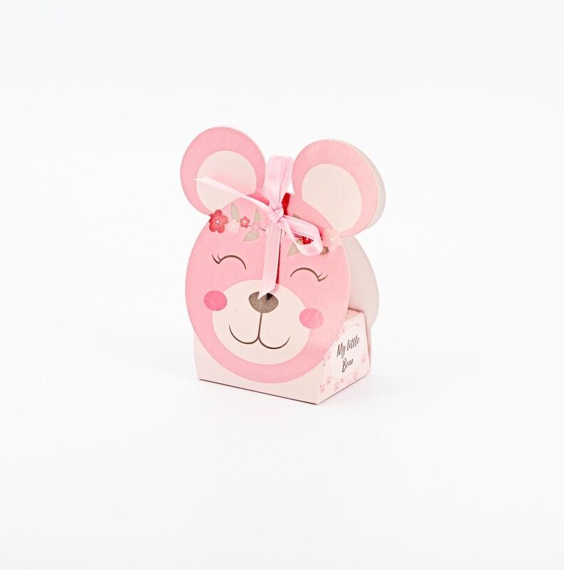 Scatolo orsetto rosa pon pon Pz.10