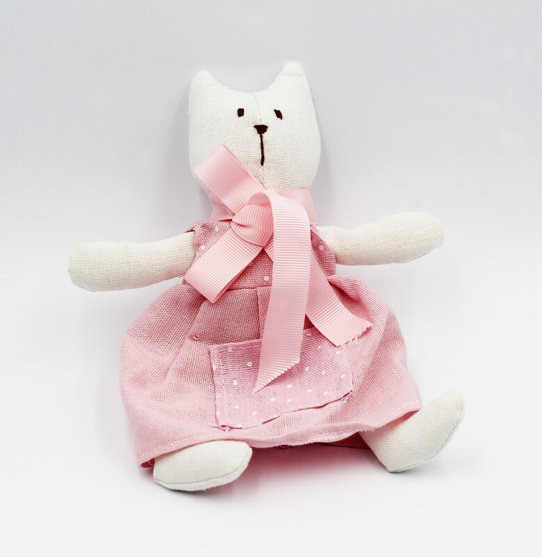 Animaletto stoffa puro cotone con libricino gatto Star Pz.1