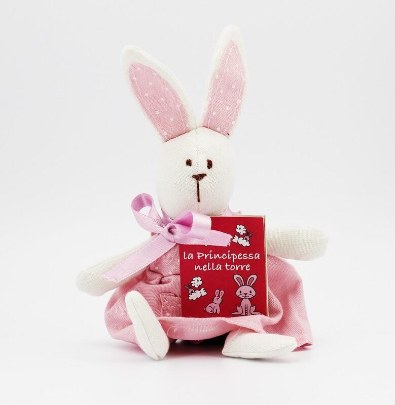 Animaletto stoffa puro cotone con libricino coniglio Star Pz.1