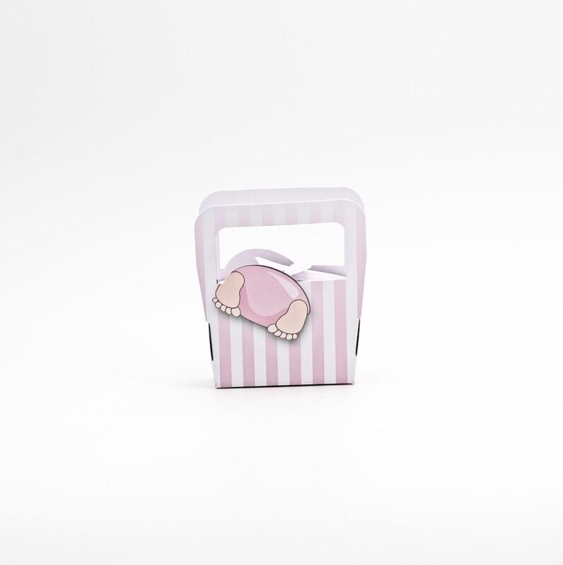 Scatola borsa bimba a righe rosa Pz.10